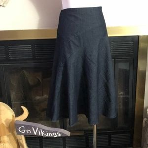 Sandro Black Denim Flare Skirt Midi Size 16 *32B*